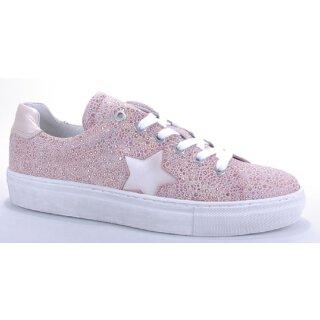 Binks Damenschuh Sneaker rose mit Glitzer und Silberstern Gr.