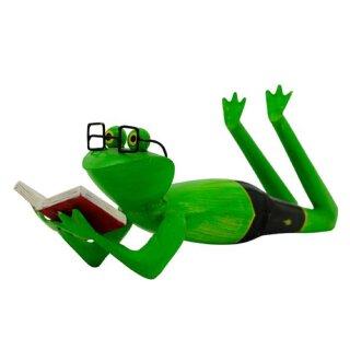 dekorative Metallfigur Frosch Deko-Frosch Bade-Frosch lesend Handarbeit