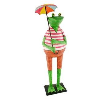 Deko-Frosch Garten-Deko Frosch Metall bemalt mit Regenschirm 85 cm hoch