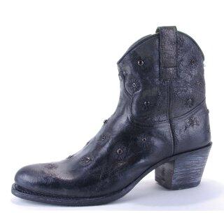 Damen Cowboy Stiefel SENDRA schwarz Vintage mit schwarzen Straßsteinen