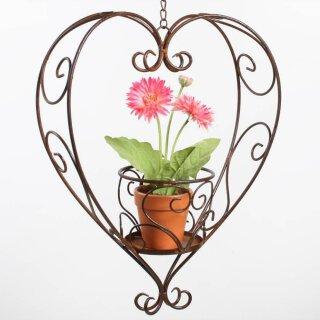 dekorative Blumenampel als Herz mit Pflanzgefäß Metall dunkelbraun