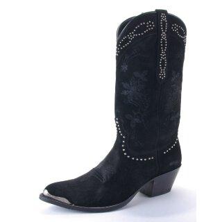 Damen Cowboy Stiefel SENDRA Wildleder schwarz bestickt mit Nietenbesatz
