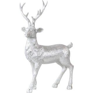 stimmungsvoller dekorativer Deko-Hirsch silberfarbig Preis für 2 Stück