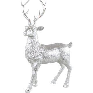 stimmungsvoller dekorativer großer Deko-Hirsch silberfarbig