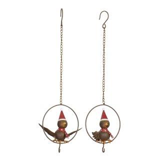 Meisenknödelhalter Vogel mit rotem Schal im Ring Preis für 2 Stück