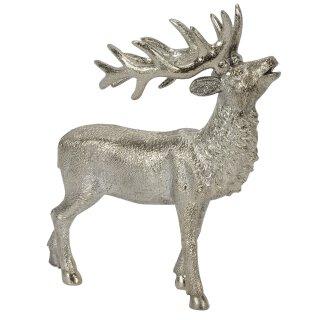 stimmungsvoller dekorativer großer Deko-Hirsch röhrend silberfarbig