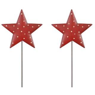 weihnachtlicher stimmungsvoller Deko-Stecker Garten-Stecker Stern rot mit weißen Punkten Preis für 2 Stück