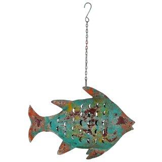 Metallfigur Fisch als Windlicht zum hängen und stellen( groß)