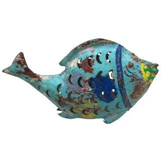 Metallfigur Fisch als Windlicht in 3 möglichen Größen
