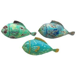 Metallfigur Dekofigur Fisch in 3 möglichen Farben