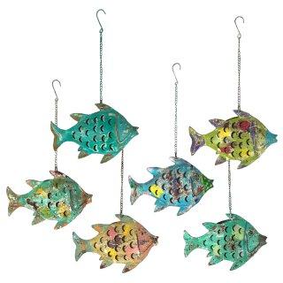 Metallfigur Fisch als Windlicht zum hängen und stellen in 6 möglichen Farben