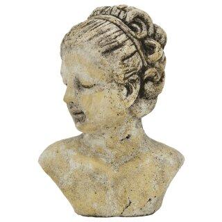 dekorative Frauenkopf-Büste Keramik creme antikgrau patiniert 2 mögliche Größen