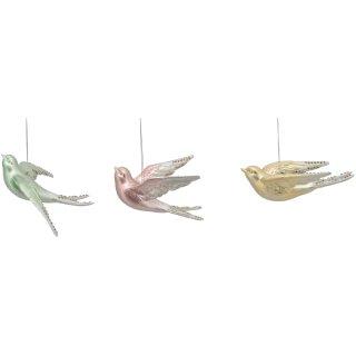 dekorativer Anhänger Vögelchen in 3 Pastellfarben Preis für 3-er Set