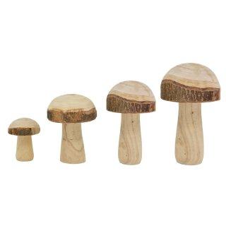 dekorativer klassischer Holzpilz Deko-Pilz aus Naturholz mit Rinde in 4 möglichen Größen