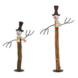 dekorative ausgefallene Deko-Figur Schneemann Holz/Metall bemalt 2 Größen zur Auswahl