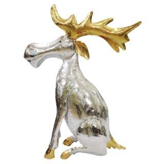 Metallfigur Elch silber/ gold als Kerzenhalter in verschiedenen Größen