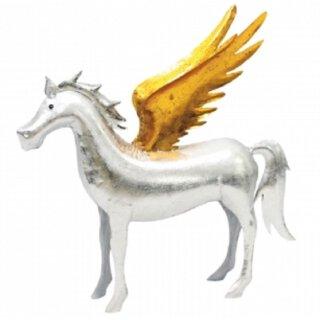 Metallfigur Pferd in silber mit goldenen Flügeln