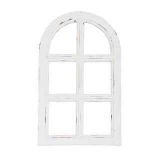 kleines Nostalgie Holz Deko Fenster weiß gewischt halbrund