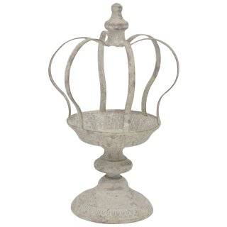 dekorative nostalgische Garten-Krone Deko-Krone Pflanz-Krone Metallteller auf Fuß shabby grau verschiedene Größen