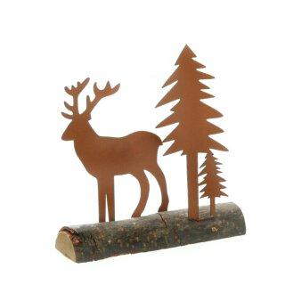 kleines weihnachtliches Dekoarrangement Hirsch mit Tanne Metall edelrostig