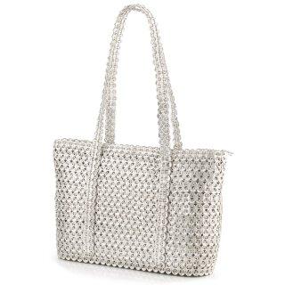 Damen Shopper-Tasche aus upcycling Dosenverschlüssen in grau/ silber