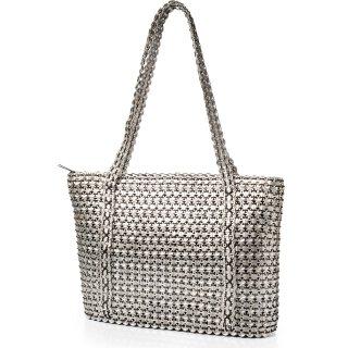 Damen Shopper-Tasche aus upcycling Dosenverschlüssen in schwarz/ silber