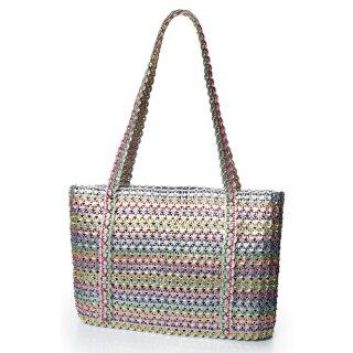 Damen Shopper-Tasche aus upcycling Dosenverschlüssen in bunt/ silber