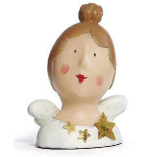 Ladykopf Engel mit Dutt, Flügeln und Sternen
