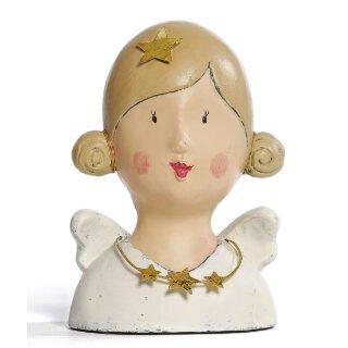 Ladykopf Deko-Kopf mit 2 Haarknoten und Stern im Haar