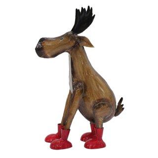 lustiger Deko-Elch Weihnachts-Elch mit roten Stiefeln in 2 Größen