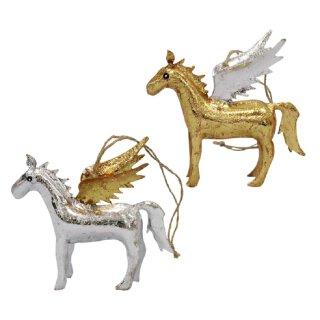 dekorativer Deko-Anhänger Pferd mit Flügeln in silber und gold Preis für 2-er Set