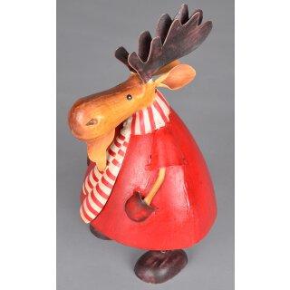 großer dekorativer Deko-Elch Weihnachts-Elch Rudolph Red Nose Reindeer Metall bemalt