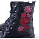 Shoecolate Damen Kurzstiefel schwarzes Strukturleder mit gestickten Rosen NEU Gr.