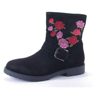 Shoecolate Damen halbhoher Boot Stiefelette schwarz Velourleder  mit gesticktem Rosenmuster