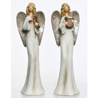 dekorativer stimmungsvoller Deko-Engel Keramik-Engel cremeweiß-silber mit Glimmer Preis für 1 Stück