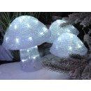 dekorative LED Leuchte für innen und außen als transparente Fliegenpilze in einer 3-er Gruppe