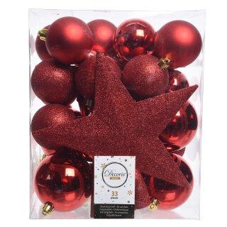 33er Set Kugelmix PVC mit Sternspitze weihnachtsrot Weihnachtskugeln Baumschmuck bruchfest Christbaumschmuck