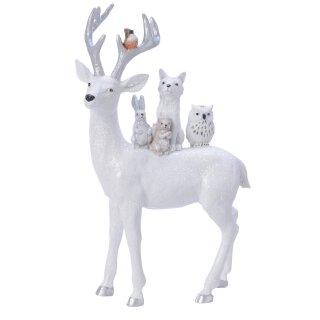 stimmungsvoller dekorativer großer Deko-Hirsch als Tiergruppe weiß mit Glitzer