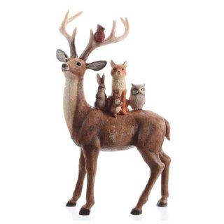 stimmungsvoller dekorativer Deko-Hirsch als Tiergruppe in Naturfarben