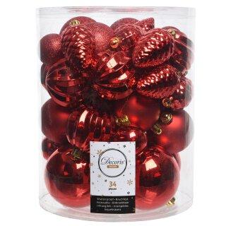 34er Set Kugelmix PVC rot mit Weihnachtskugeln Baumschmuck bruchfest Christbaumschmuck