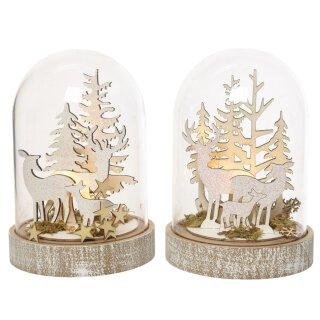 LED beleuchtete dekorative Glaskuppel mit Hirsch-Ensemble Preis für 1 Stück