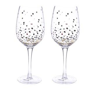 edles Weißweinglas mit Goldpunkten Preis für 2 Stück