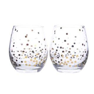 edles Wasserglas mit Goldpunkten Preis für 2 Stück