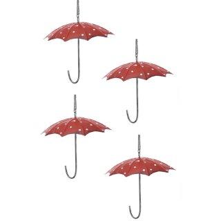 Meisenknödel-Halter Regenschirm Metall rot weisse Punkte Preis für 4 Stück