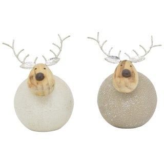 putziger dekorativer Deko-Elch im 2-er Set in 2 möglichen Größen