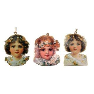 dekorative nostalgische Anhänger Mädchenköpfe Blumenkind Preis für 3 Stück