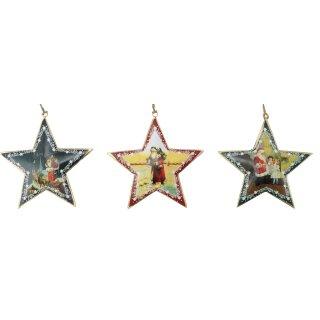 dekorative nostalgische Stern-Anhänger Motiv Nikolaus Preis für 3 Stück