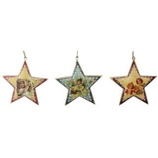dekorative nostalgische Stern-Anhänger Motiv Kinder Preis für 3 Stück
