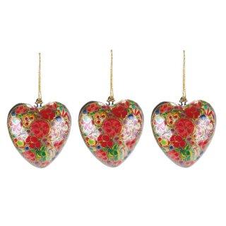 dekorative kleine Anhänger Herz in traditioneller Lackmalerei Preis für 3 Stück