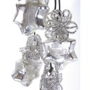 nostalgische Bauernsilber Glasanhänger kleine Sterne mit Glasperlenblüten am 6-er Strang
